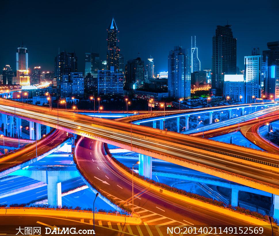 上海高架路立交桥夜景摄影高清图片