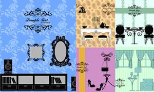 花纹底纹背景与窗帘家具等矢量素材