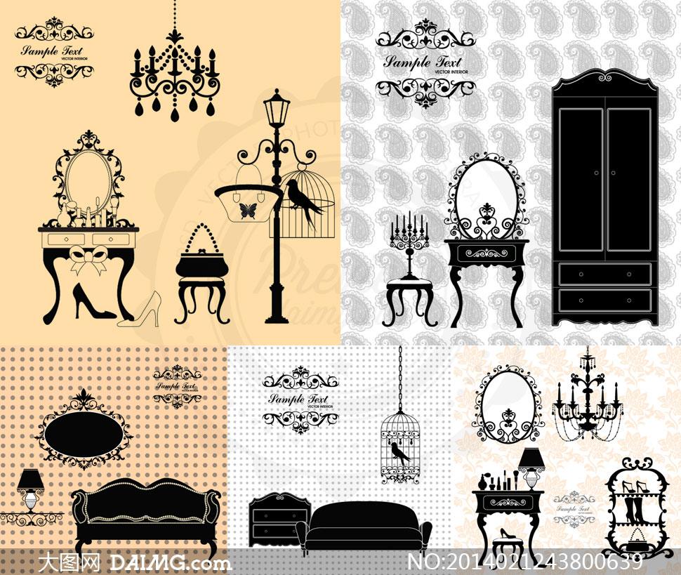 欧式家具沙发吊灯装饰图案镜子梳妆镜高跟鞋包包鸟笼