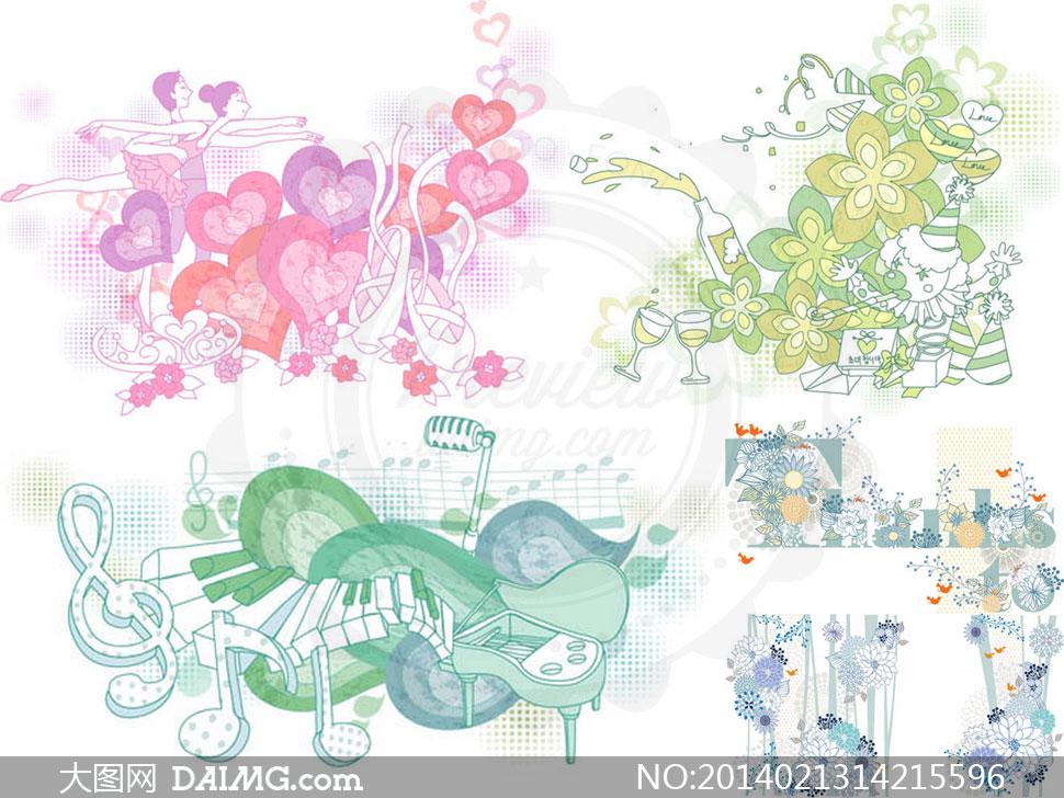 人物花朵插画图案创意设计矢量素材图片