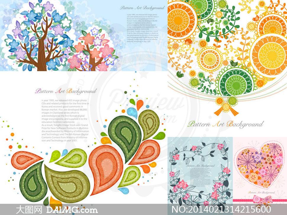 树木叶子插画图案创意设计矢量素材图片