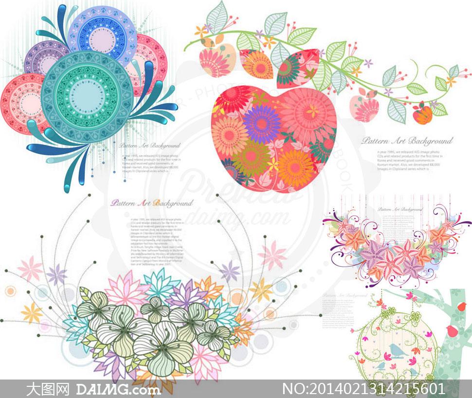 矢量素材矢量图tua插画图案素描手绘圆形创意花朵花卉树木小鸟可爱