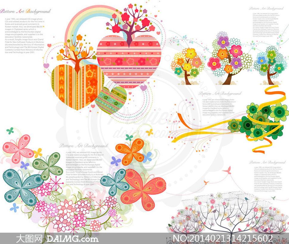 tua插画图案素描手绘彩虹心形树木线条曲线虚线丝带蝴蝶可爱时尚装饰