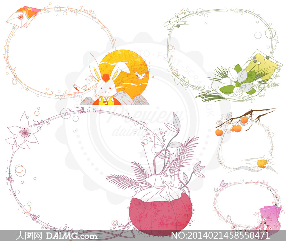 花朵线条等组成的边框创意矢量素材