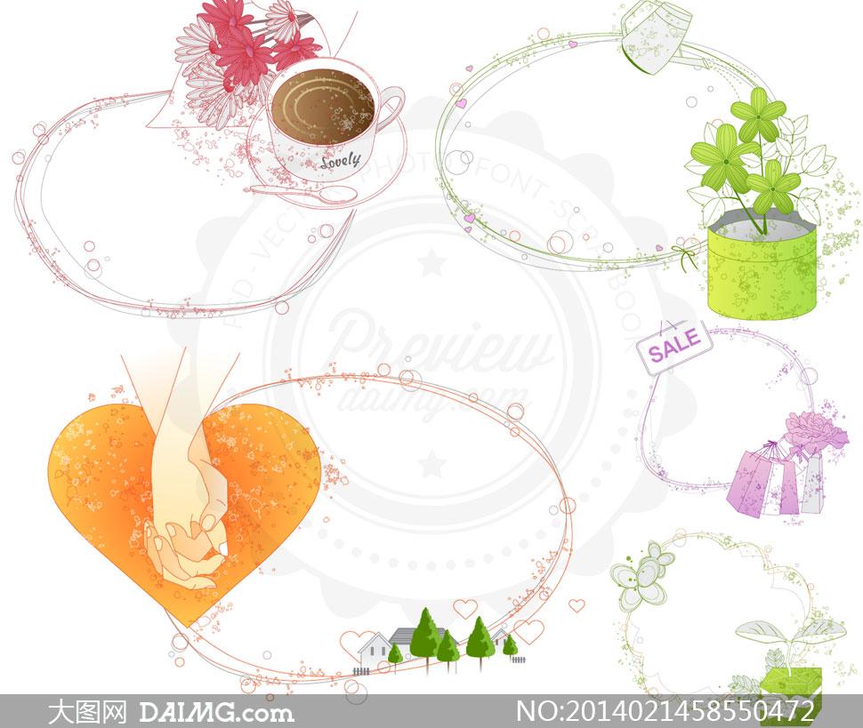 线条边框与花朵花盆心形等矢量素材