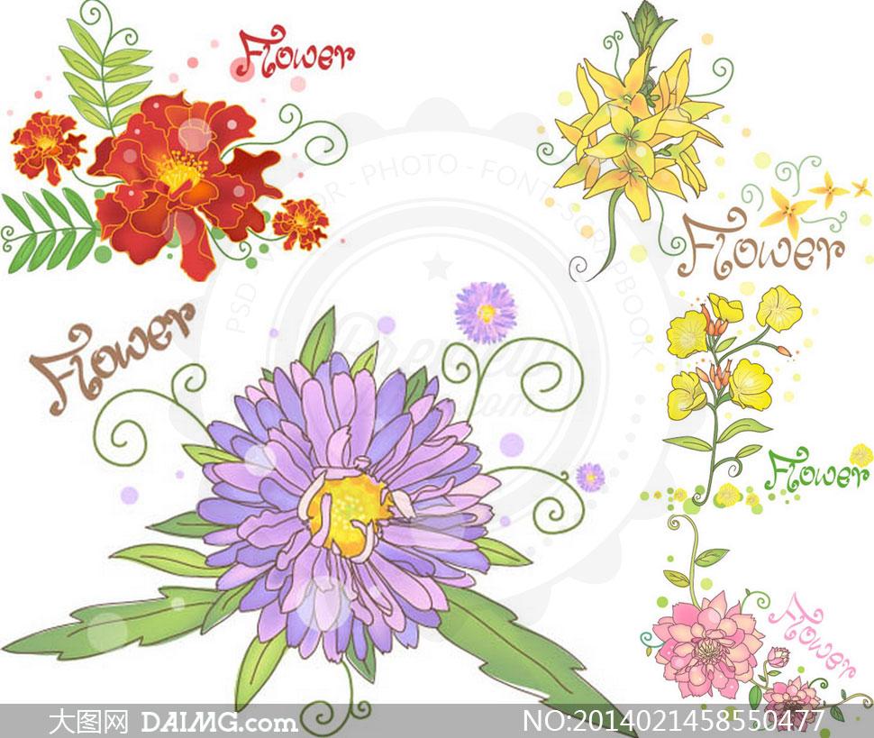 鲜艳花朵花卉绿叶植物设计矢量素材