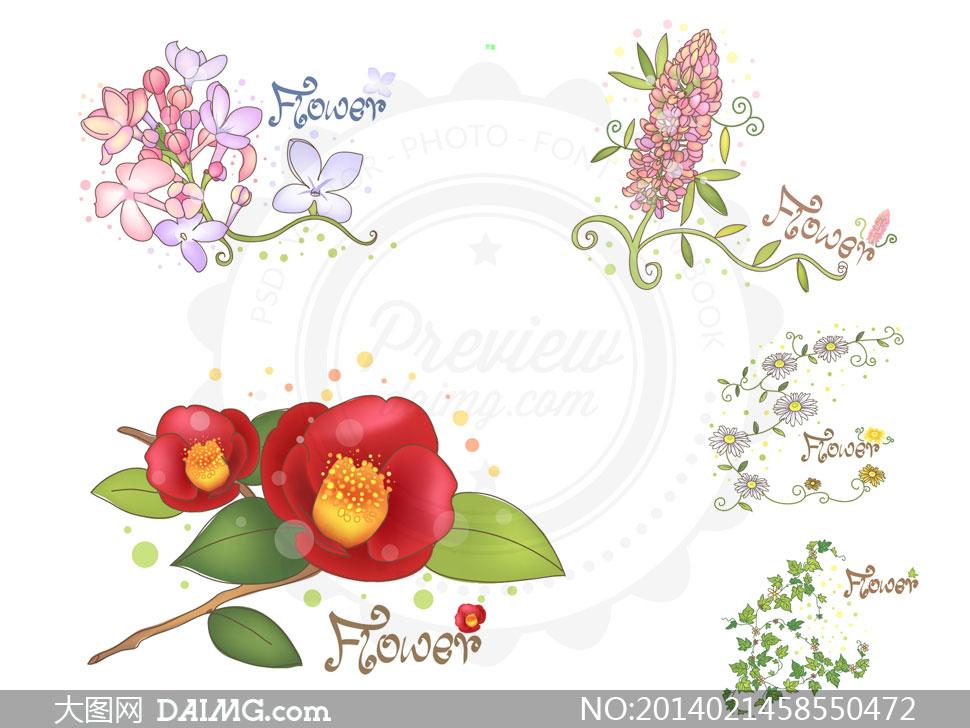 绿叶花朵植物藤蔓图案设计矢量素材