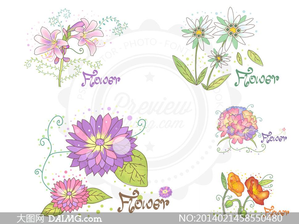 关键词: 矢量素材矢量图tua花朵鲜花花卉植物手绘素描藤蔓花藤绿叶