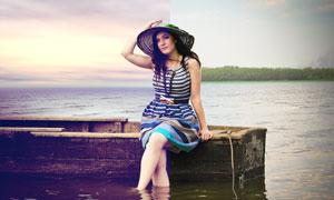 美女人像瘦身和紫色效果PS調色圖層