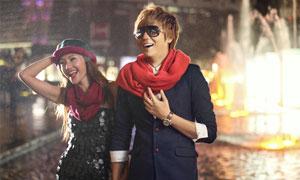 雪景情侶照冷色處理效果PSD調色圖層