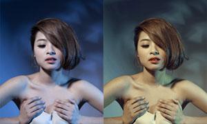美女照片奶油黃色膚色效果PSD調色圖層