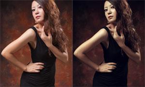 性感美女淡黃膚色效果PSD調色圖層
