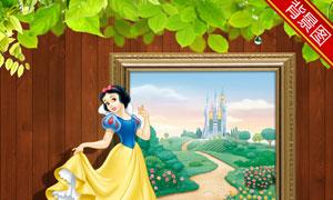 相框外的白雪公主影楼摄影背景图片