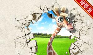 撞破墙壁的长颈鹿影楼摄影背景图片