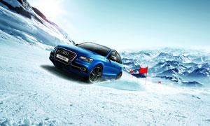 雪地中行驶的奥迪Q5汽车摄影图片
