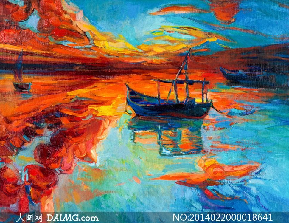 关键词: 河流小舟小船油画风景油画绘画装饰画壁画欧式风景绘画书法