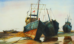 岸边停泊的小船油画设计图片