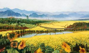 野外向日葵种植园水彩绘画图片