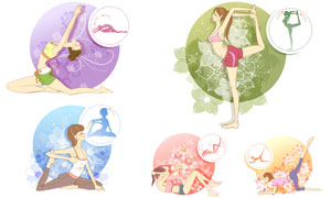 健身减肥主题美女人物插画矢量素材