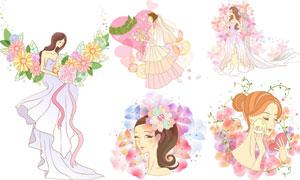 花朵与美女新娘人物等装扮矢量素材