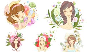 美容化妆与花朵绿叶等插画矢量素材