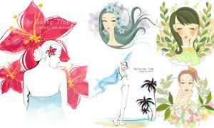 时尚美女人物插画创意设计矢量素材