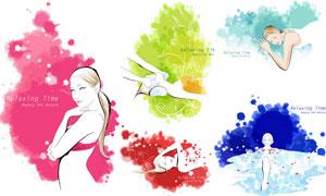 美女人物插画与墨迹喷溅等矢量素材