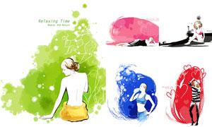 泼墨效果与美女人物插画等矢量素材