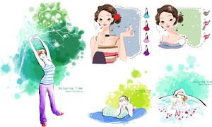 时尚美容美妆美女人物插画矢量素材