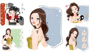 化妆美容女孩人物插画图案矢量素材