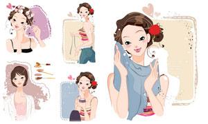 活力青春时尚女孩人物插画矢量素材