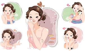 时尚爱美女孩人物插画设计矢量素材
