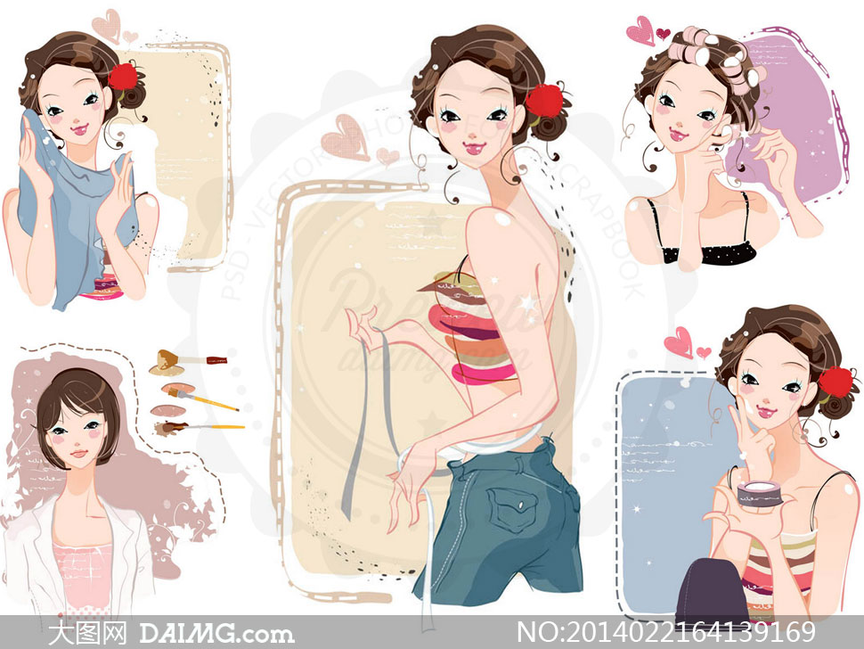 矢量素材矢量图tua人物插画美女女性素描手绘心形桃心女孩牛仔裤护肤
