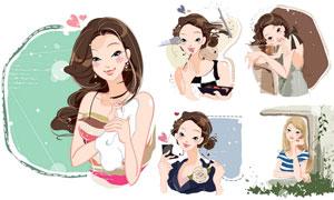 时尚美女人物主题插画设计矢量素材