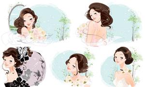 花朵与美女人物等插画设计矢量素材