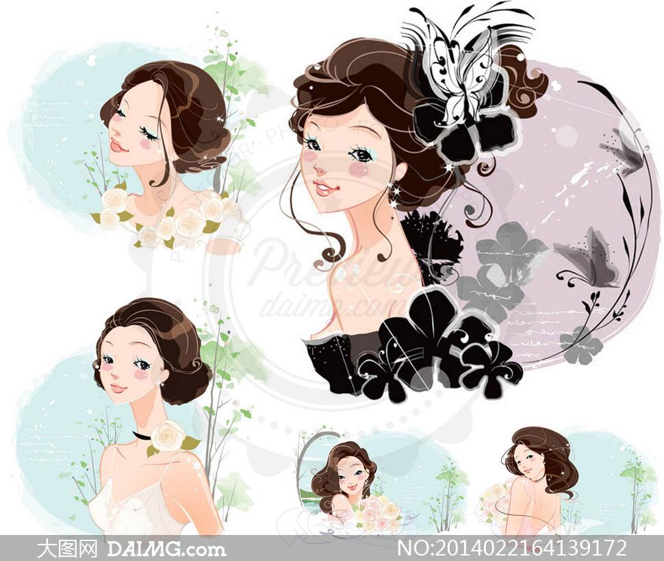 美女女性素描手绘唯美头饰玫瑰花鲜花花朵花卉长发