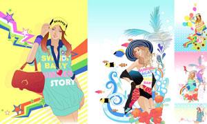 时尚模特人物插画创意设计矢量素材