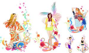 潮流装饰元素与美女人物等矢量素材
