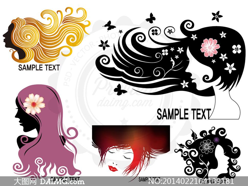 美女人物剪影发型创意设计矢量素材图片