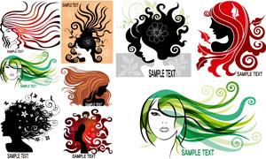 花纹装饰的美女剪影等创意矢量素材