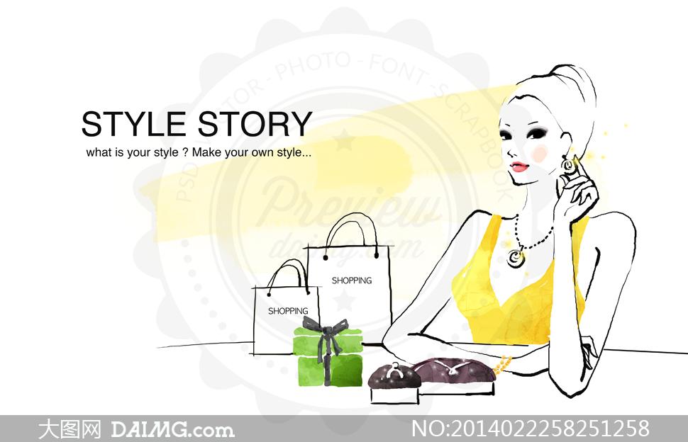 女性女人模特手绘红唇首饰饰品耳环项链购物袋手提袋