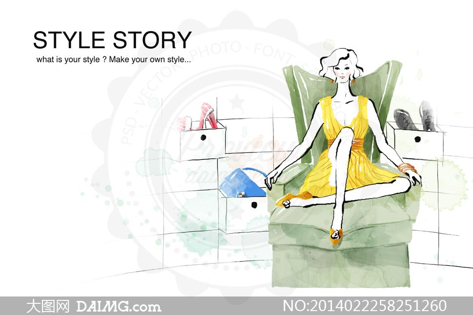 手绘风沙发椅上的美女psd分层素材