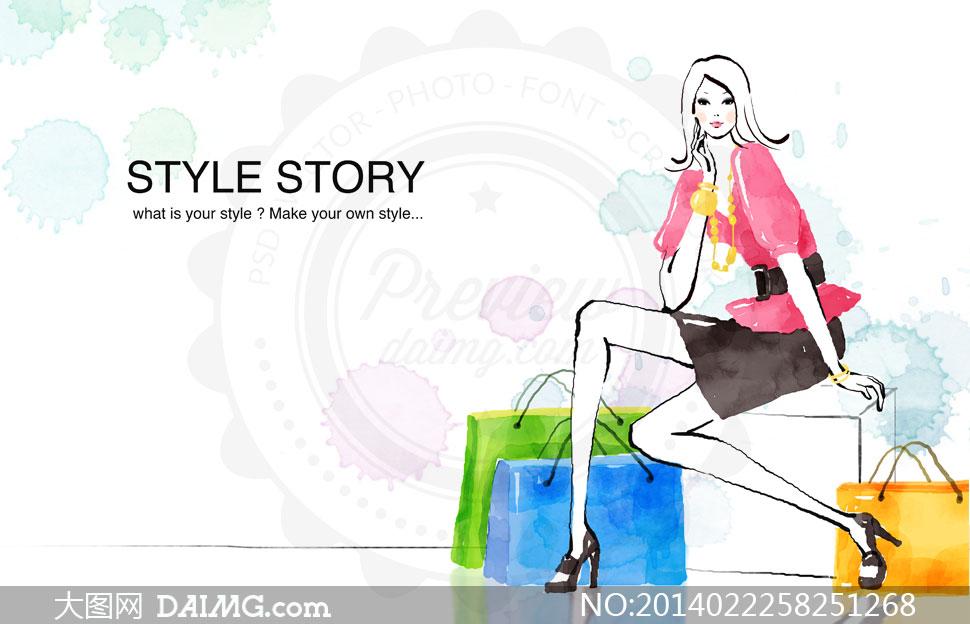 紫色装扮购物美女人物psd分层素材         水彩手绘风格美女人物