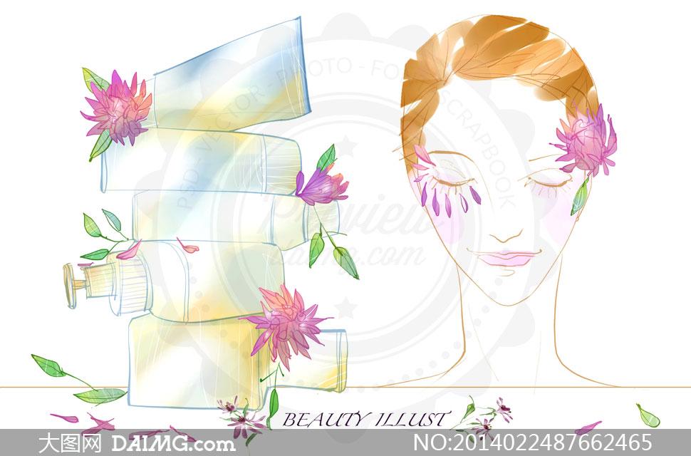护肤品与彩妆美女创意psd分层素材