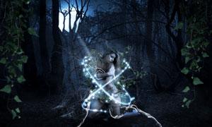 合成魔幻场景中的深林女孩PSD教程素材