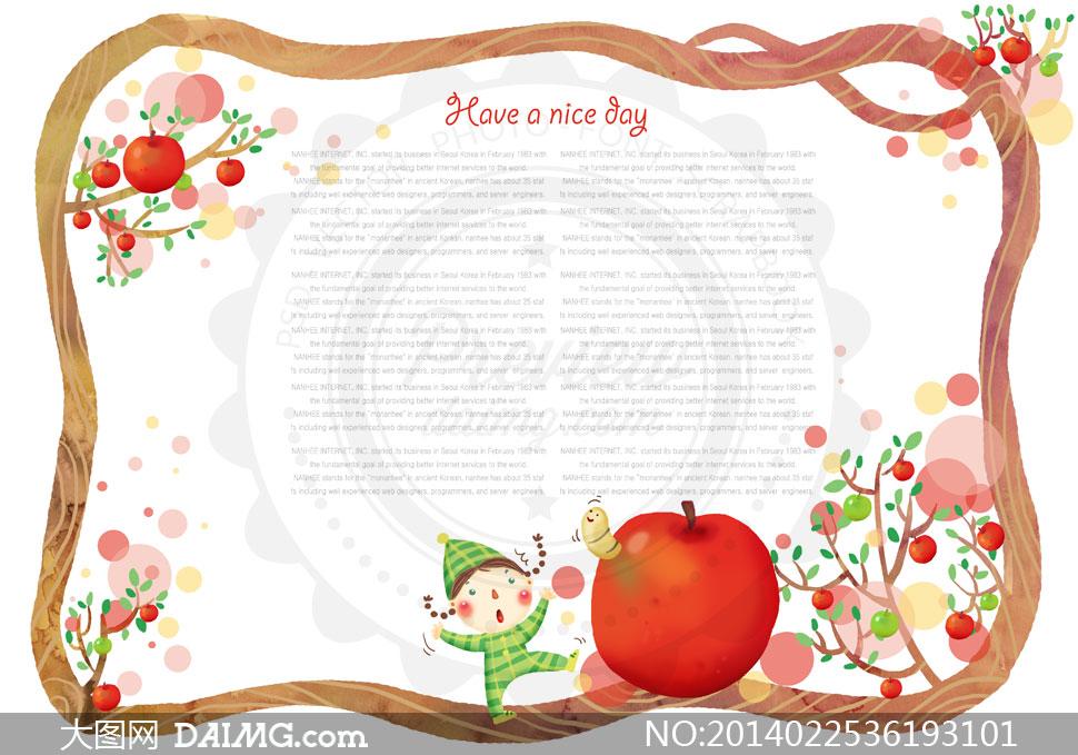 素材tua边框果实果子红色苹果果树可爱卡通虫子小虫