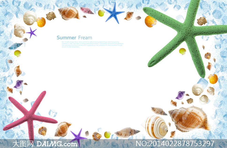 海星贝壳边框创意设计psd分层素材