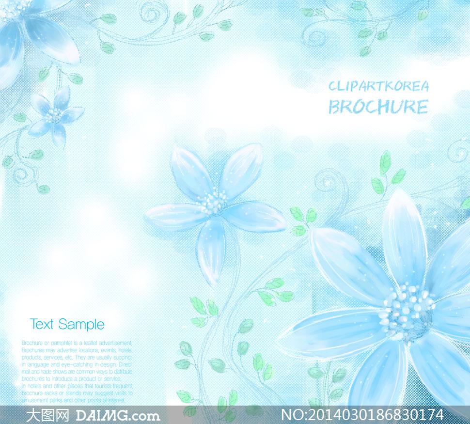 手绘花藤花朵网纹背景psd分层素材