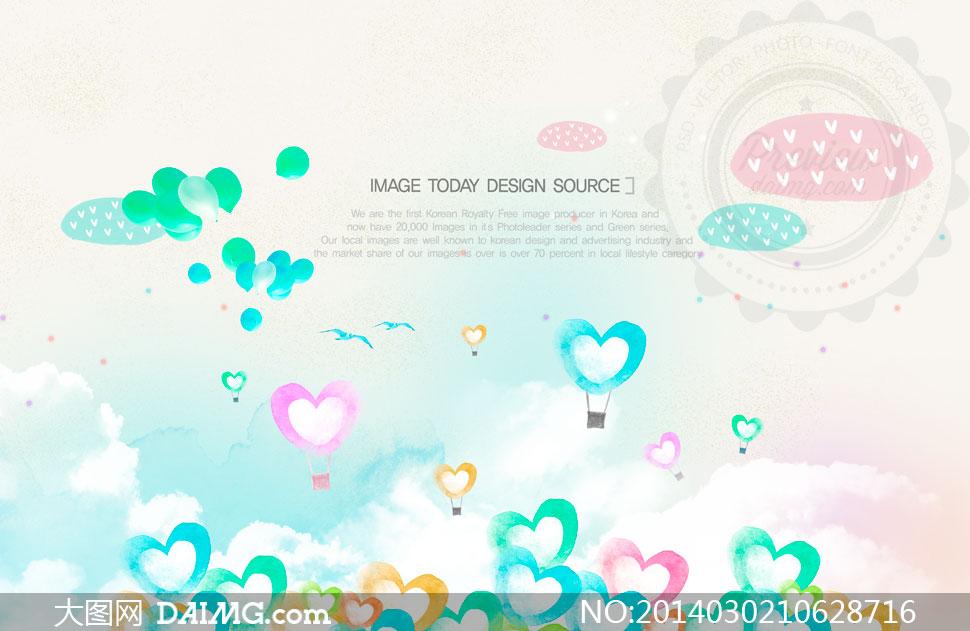 卡通心形热气球等创意psd分层素材