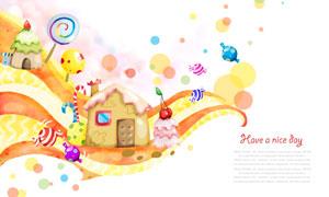房子糖果卡通插画设计PSD分层素材